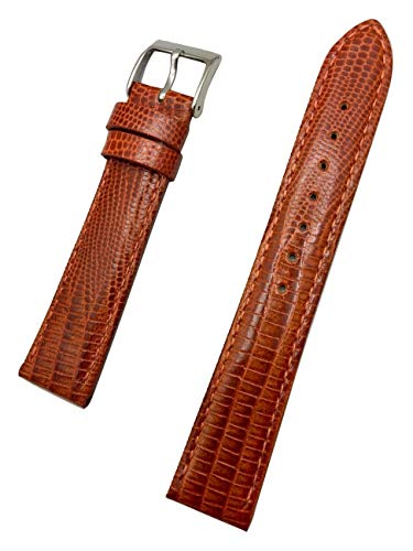 18mm Bronze/Honey Brown Watch Band by NewLife | Teju Lizard Grain, Lightly Padded, Genuine Leather Replacement Wrist Strap That Brings New Life to Any Watch (Men's Standard Length)