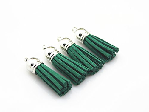 40 Silver Cap 1-1/2 inch Faux Suede Tassel Tassel Charm with CCB Cap for Keychain Cellphone Straps Jewelry Charms (Green) ()