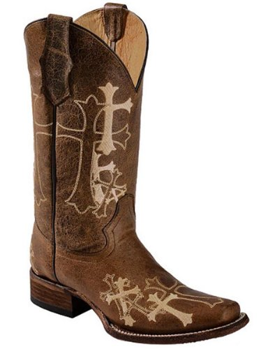 Corral Women's L5042 Cross Embroidery Brown Square Toe Western Boots 7 M