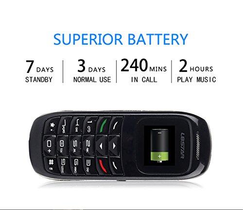 GTStar L8Star BM70 Mini bluetooth handset phone 0.66 inch Unlocked Mini Mobile Phone Bluetooth Earphone Dialer Single SIM Card (Black-BM70) by GTstar (Image #3)