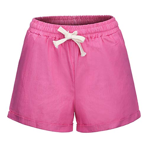 Toimothcn Cargo Short Women Ladies Stretch Slim Casual Elastic Waist Shorts Pants with Pockets(Pink,L) ()