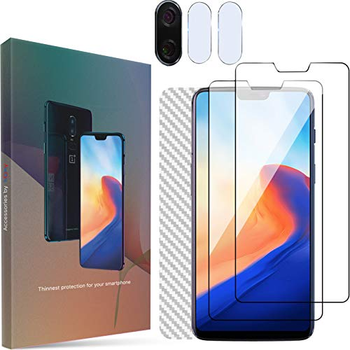 Homy Compatible OnePlus 6 Screen Protector (x2) + Back Carbon Fiber + Camera Lens Cover (x2) - Full Protection Kit - Premium Japanese Tempered Glass - Anti Fingerprint - Touch ()