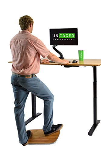 BASE Active Standing Desk Balance & Stability Board. Wobble Platform Trainer for Home, Office, Rehab, Fitness. Full Range of Motion. Surf Your Desk! (Silver+Bamboo)