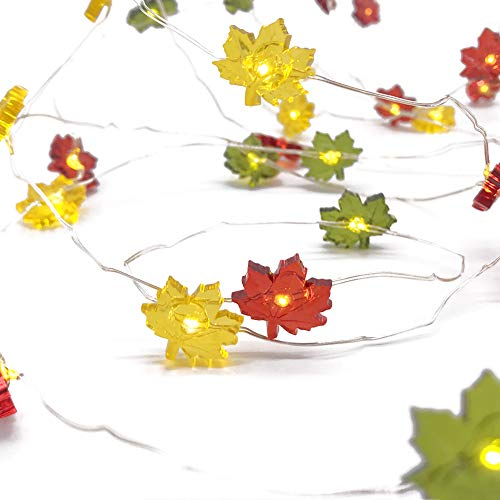 Colour Maple Leaves Fairy String Lights - 40 LEDs 10ft Copper Wire With Remote For Thanksgiving Harvest Decorations Birthdays Anniversaries Mothers Day Boyfriend Girlfriend Gift Best Home lights