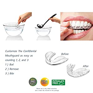 The ConfiDental - Pack of 5 Moldable Mouth Guard for Teeth Grinding Clenching Bruxism, Sport Athletic, Whitening Tray, Including 3 Regular and 2 Heavy Duty Guard (3 (lll) Regular 2 (II) Heavy Duty) - Health Net Store USA