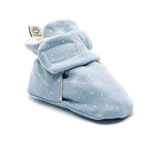 Owluxe Organic Cotton Baby Booties Crib Shoes with Kick Proof, 0-6 Months, White Polka Dot, Blue, Unisex