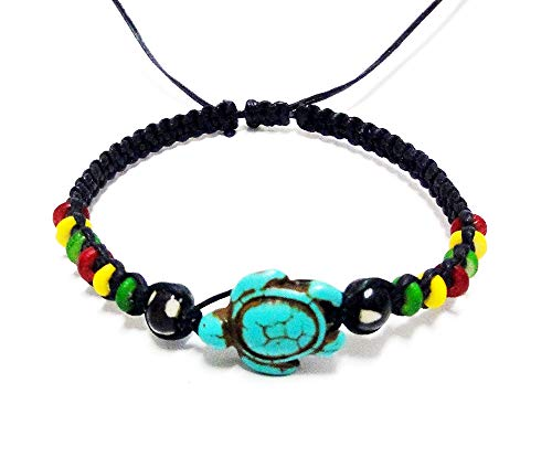 LAVIP Leather Rasta Plaided Hippie Bracelet Turtle Hemp Bracelet Turquoise Color - Hawaiian Sea Turtle Bracelet