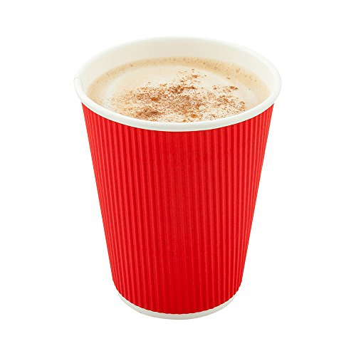 500-CT Disposable Red 8-OZ Hot Beverage Cups with Ripple Wall Design: No Need for Sleeves – Perfect for Cafes – Eco-Friendly Recyclable Paper – Insulated – Wholesale Takeout Coffee Cup