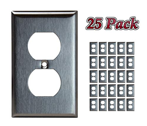 Products 83210, Duplex Stainless Steel Wall Plate, 1 Gang Standard Size, Electrical Outlet Receptacle and Light Switch Cover Wall Plate, Made of Unbreakable Metal (25 Pack) ()