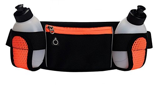 Ellen Running Belt With 2 Water Bottles Waist Pouch for iPhone 7/6S Plus Galaxy S6 S7 Note 6 | Adjustable Fanny Pack For Running Marathon Climbing Hiking Cycling Travelling (Orange)