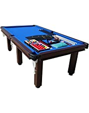 8FT Pool Table MDF Snooker Billiard Table with 6 Legs Leather Pockets