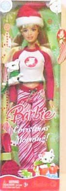 Barbie Christmas Morning Holiday Doll 2008 with Santa Hat, Pajamas, Fur Slippers, Hairbrush and Pet Cat