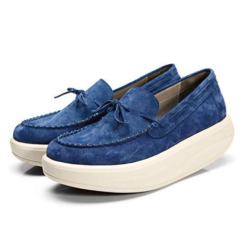 Loafers Cuir RoseG Femmes Plateforme Chaussures Creeper Slipper Décontractée Mocassins Bleu pqAqI