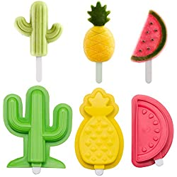 Fewo Cactus Pineapple & Watermelon Popsicle Molds Maker - Set of 3 - Reusable Ice Pop Molds Trays for Homemade Popsicles