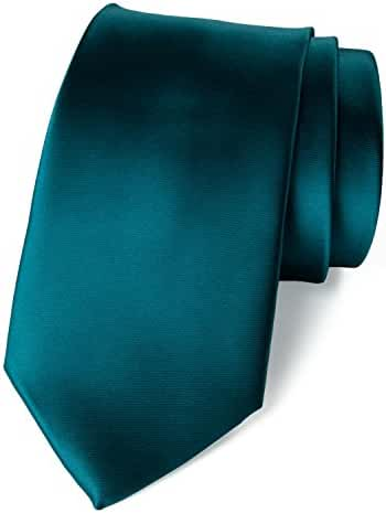 Spring Notion Men's Solid Color Satin Microfiber Tie, Regular and Skinny Width