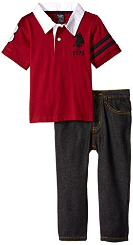 U.S. Polo Assn. Little Boys' Toddler Jersey Rugby Style Polo and Denim Jean, University Red, 2T