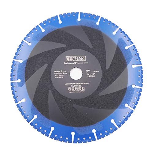 DT-DIATOOL 9 Inch Metal Cutting Disc - All Purpose Diamond Cut-Off Wheel for Steel Pipe Stone Reinforced Concrete Iron ()