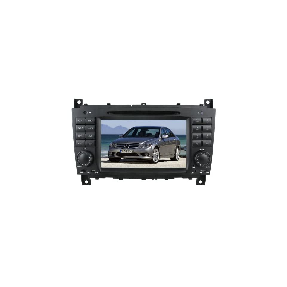 Koolertron For Mercedes Benz C Class W203 (2004 2005 2006 2007) / Benz CLK W209 (2006 2007 2008 2009 2010) / Benz CLC (2008 2009 2010) Indash Car Navigation System GPS Radio AV Receiver with 7 inch Touch Screen + iPod Bluetooth (Factory Fit,Free Map)