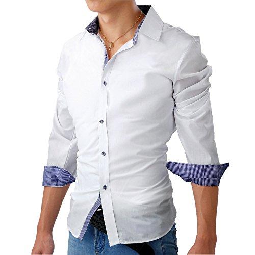 作家波フェアリーストーン ボタン ドレスシャツ メンズ 長袖 チェック 柄 スリム フィット 大きい サイズ カジュアル フォーマル S-06