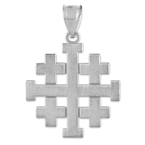 Maçonnique Jewelry (franc-maçon) Femme Or blanc 10K fini mat Crusaders Templar Pendentif Croix de Jérusalem
