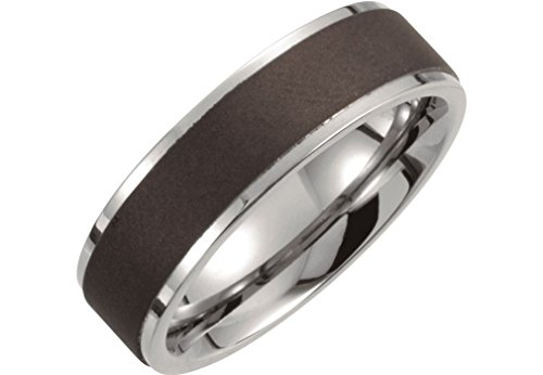Satin Black Titanium 7mm Comfort Fit Band, Size 7.5 by The Men's Jewelry Store (for HER)