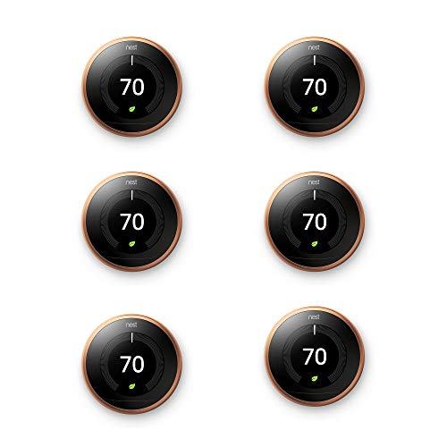 Price comparison product image Nest Learning Smart Thermostat 3rd Generation Home/Office WiFi, Copper (6 Pack)