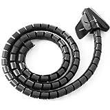 NEW Noir Câble 2m pour kit PC/TV/fil pour organiser Outil Spirale Bureau Maison