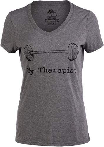 Ann Arbor T-shirt Co. My Therapist (Barbell) | Funny Workout Working Out Weight Lifting Lifter V-Neck Women-(Vneck,M)