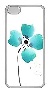 Customized iphone 5C PC Transparent Case - Four Green Petals Cover