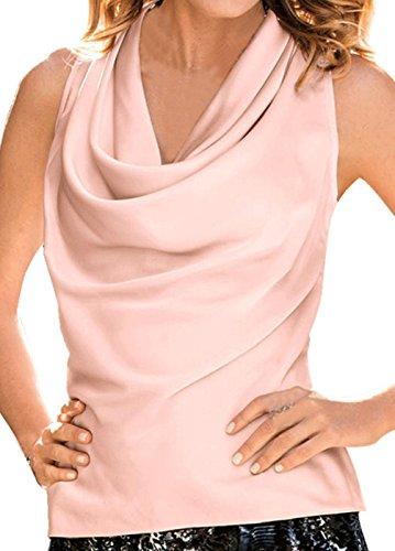 URqueen Women's Fashion Heaps Collar Sleeveless Tops Slim Fitted Vest Pink