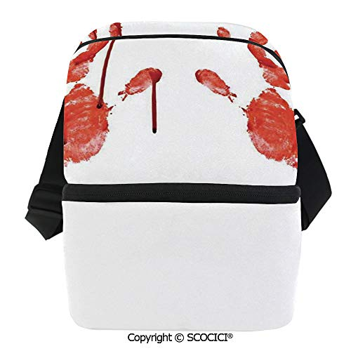 SCOCICI Thermal Insulation Bag Handprint Like Wanting Help Halloween Horror Scary Spooky Flowing Blood Themed Print Lunch Bag Organizer for Women Men Girls Work School Office Outdoor]()