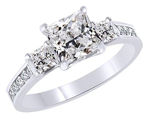 3quilates Zirconia cúbica blanca tres piedra anillo de compromiso y boda oro blanco de 14K más de anillo de plata de...