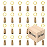 HAOSEE 24 Pack 20 Led Wine Bottle Lights with Cork,3.3Ft Silver Wire Warm White Cork Lights Battery Operated Fairy Mini String Lights for Wine Liquor Bottles Wedding Party Christmas Decor