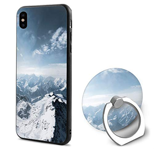 (iPhone X Case Snow Mountains Scenery with Ring Holder 360 Degree Rotating Stand Grip Mounts Slim Soft Protective Cover)