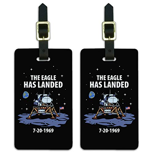 NASA Apollo 11 The Eagle Has Landed Moon Landing Luggage ID Tags Cards Set of 2 (The Three Astronauts That Landed On The Moon)