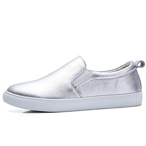 YZHYXS Frauen Loafers Wohnungen Schuhe Vollrindleder Comfort Mokassins Slip On Fashion Sneakers Silber