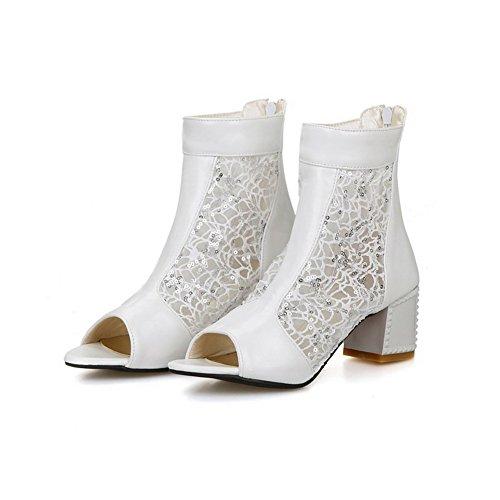 AllhqFashion Womens Zipper Open Toe Kitten Heels Pu Solid Sandals Beige y5iseYs