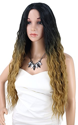 Kalyss Ombre Black to Honey Blonde Women's wig Long Curly Wavy Premium Heat Friendly Synthetic Hair Wig for Women(Gradient Black to Brown)
