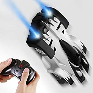 SGILE Remote Control Car Boy Toy Gift, Rechargeable RC Wall Climber Car for Kids Boy Girl Birthday Gift Present with Mini Control Dual Mode 360° Rotating Stunt Car LED Head Gravity-Defying,Black