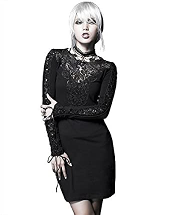 5e2f97ba4100 Rave Gothic Punk Steampunk Nightingale Kleid schwarz Spitze, langärmlig   Amazon.de  Bekleidung
