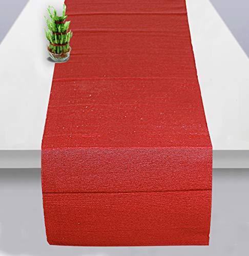 RAJRANG BRINGING RAJASTHAN TO YOU Camino de Mesa Rojo - Mantel Festivo de Mesa Decorativo para Comedor y Cocina Rojo - 182x33 cm