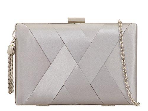Tassel Ladies Women's Clutch Satin Rigid Box Handbag KZ2039 EAMUK Bag Silver Chain Evening Purse xwdqX0tHn