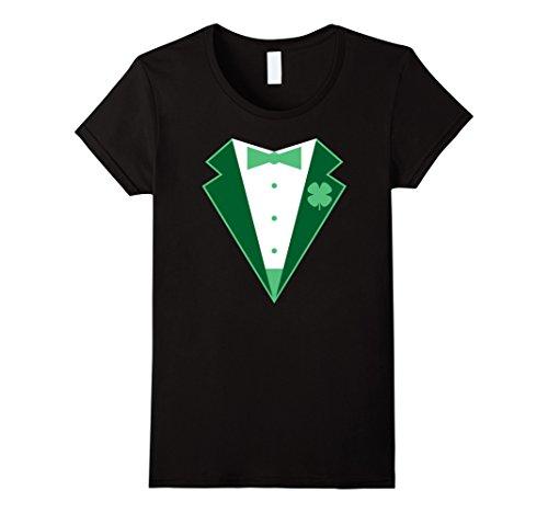 [Women's Funny St. Patrick's Day Costume Tuxedo T-shirt Medium Black] (Womens Tuxedo Costumes Tshirt)