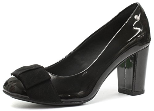 Hush Puppies Sisany Bow Black PU Womens Heels, Size 9