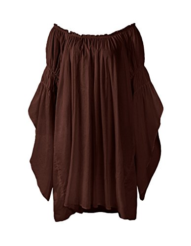ReminisceBoutique Renaissance Medieval Peasant Dress up Pirate Faire Celtic Blouse (Small, Brown) -