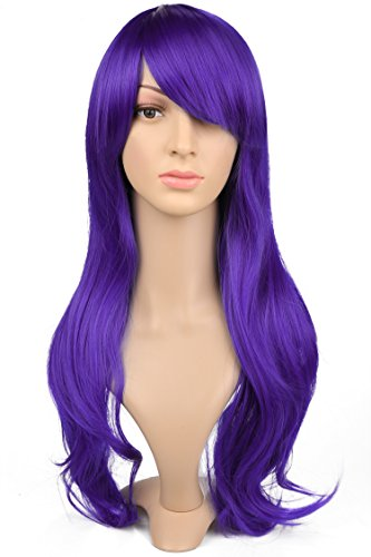 ACEVIVI Fashion Women Hair Wig Oblique Bangs Curl Long Party Cosplay Costume Wig Heat Resistant, Front Length: 20cm/ 7.8 inch, Back Length: 66cm/ 25.74 inch, Purple (Long Curl Wig)