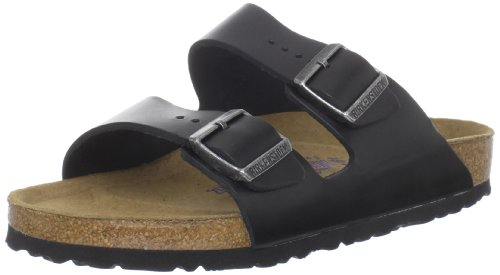 Birkenstock Unisex Arizona Black Amalfi Leather Soft Footbed Sandals - 38 M EU / 7-7.5 B(M) US