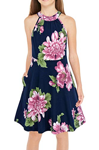 GORLYA Girl's Halter Neck Cold Shoulder Sleeveless Summer Casual Sundress A-line Dress with Pockets for 4-12 Years (GOR1013, 6-7Y, Purple Flower)