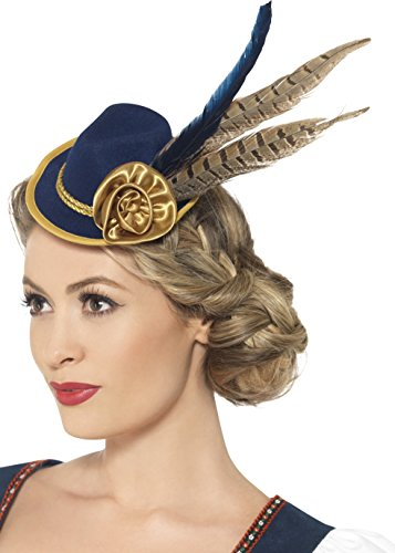 [Womens Blue German Bavarian Oktoberfest Mini Hat Band Feather Flower Accessory] (Oktoberfest Costumes Hat)