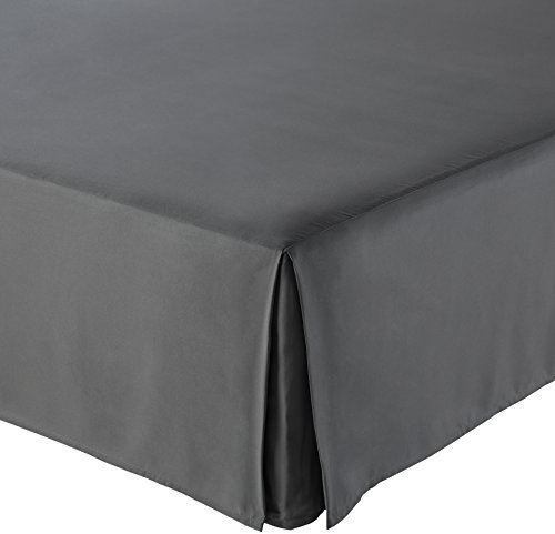 (AmazonBasics Pleated Bed Skirt - Queen, Dark Grey)